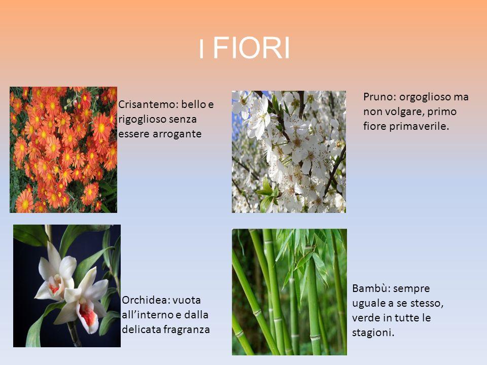 I FIORI Pruno: orgoglioso ma non volgare, primo fiore primaverile.