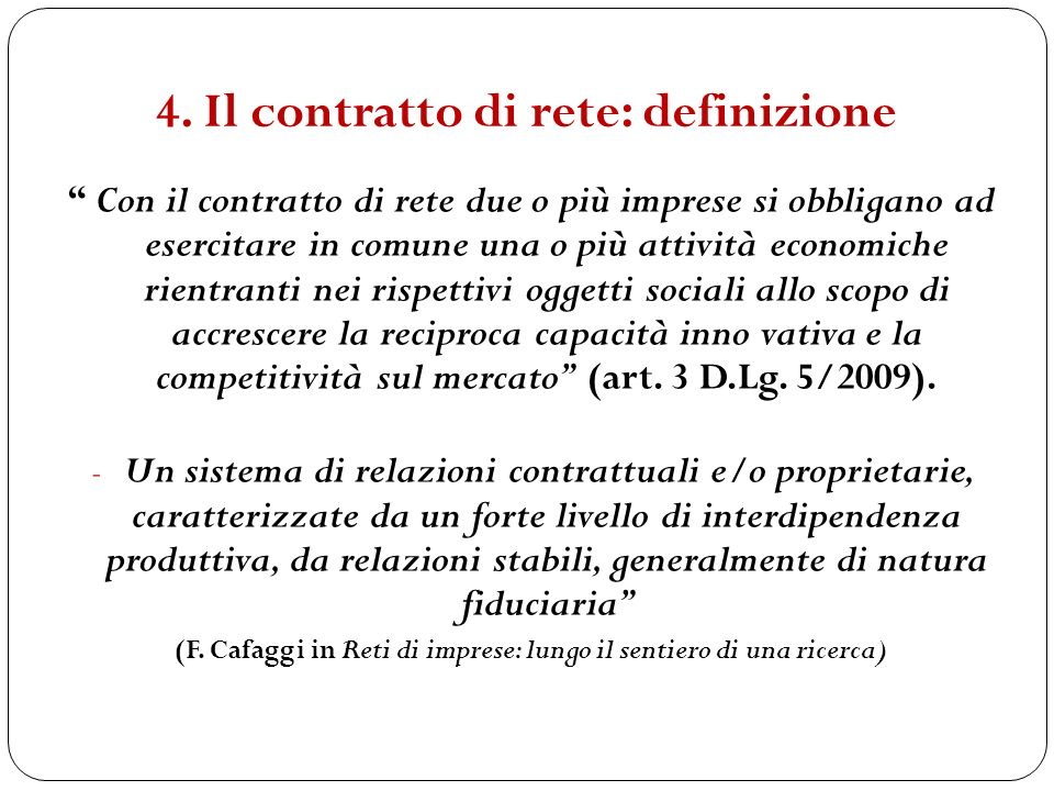 4. Il contratto di rete: definizione