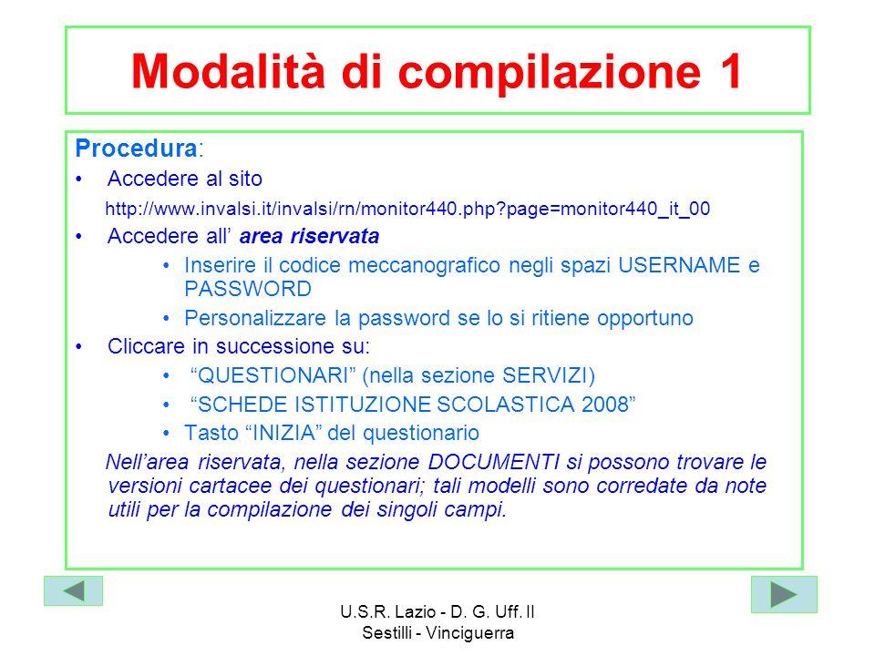 Modalità di compilazione 1