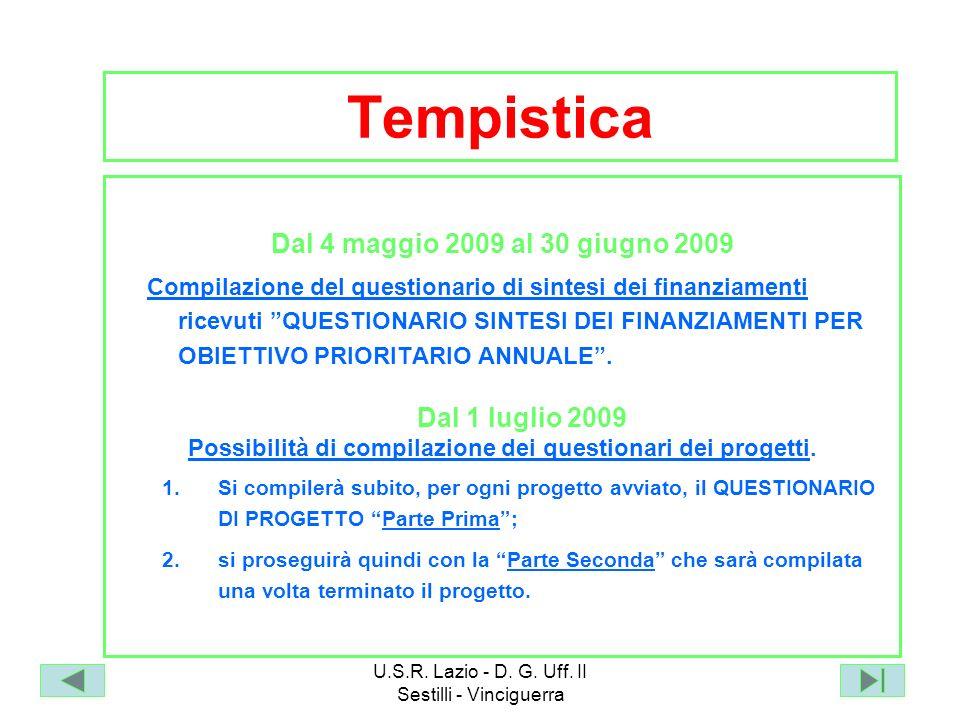 Possibilità di compilazione dei questionari dei progetti.