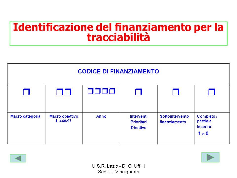 Identificazione del finanziamento per la tracciabilità