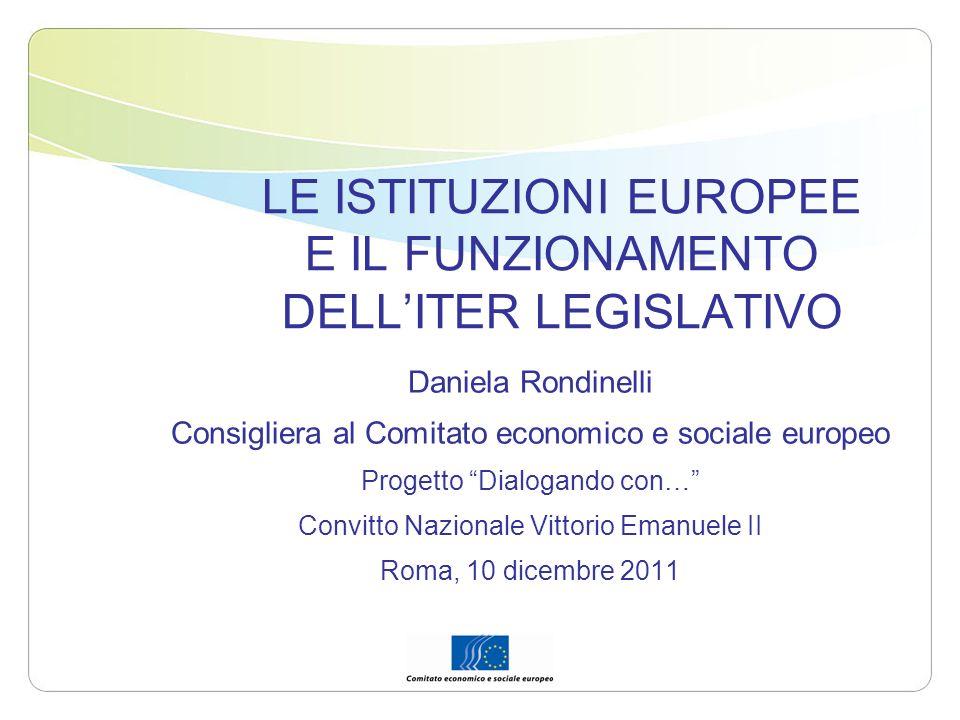 LE ISTITUZIONI EUROPEE E IL FUNZIONAMENTO DELL'ITER LEGISLATIVO