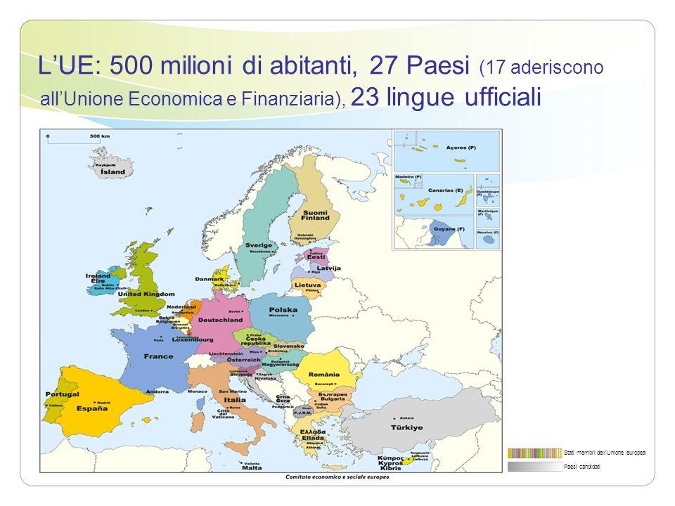 L'UE: 500 milioni di abitanti, 27 Paesi (17 aderiscono all'Unione Economica e Finanziaria), 23 lingue ufficiali