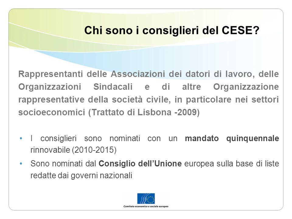 Chi sono i consiglieri del CESE