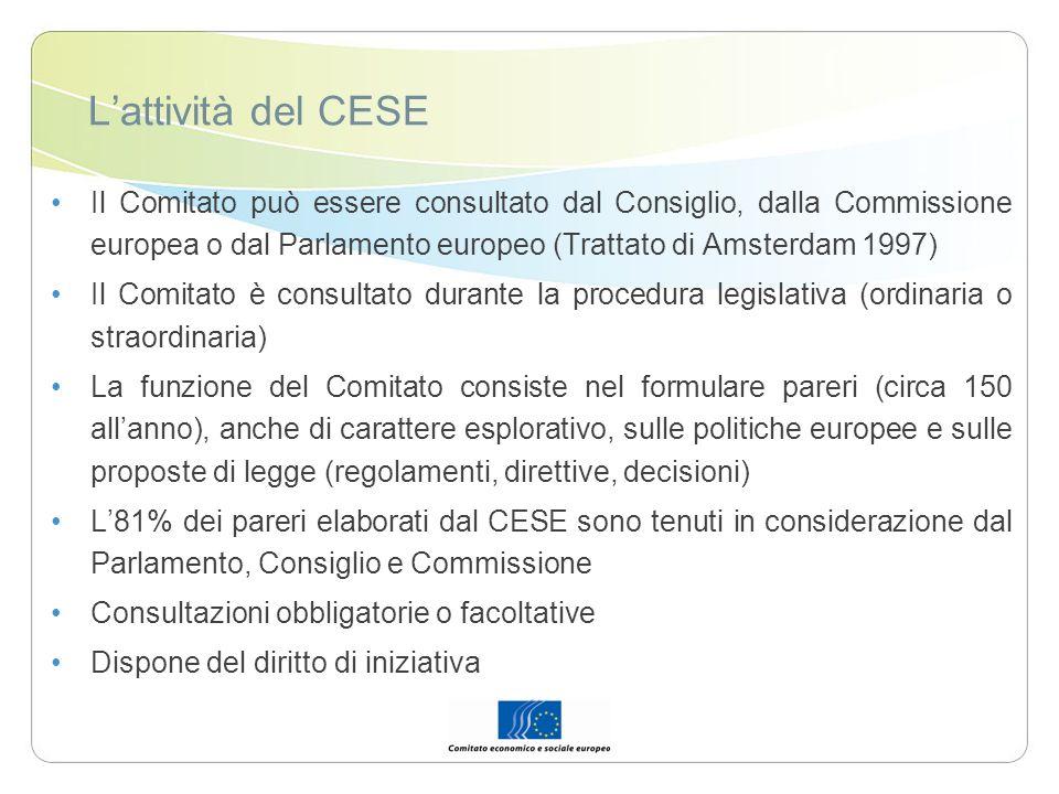 L'attività del CESE Il Comitato può essere consultato dal Consiglio, dalla Commissione europea o dal Parlamento europeo (Trattato di Amsterdam 1997)