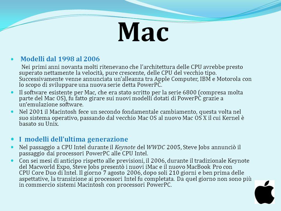 Mac I modelli dell ultima generazione Modelli dal 1998 al 2006