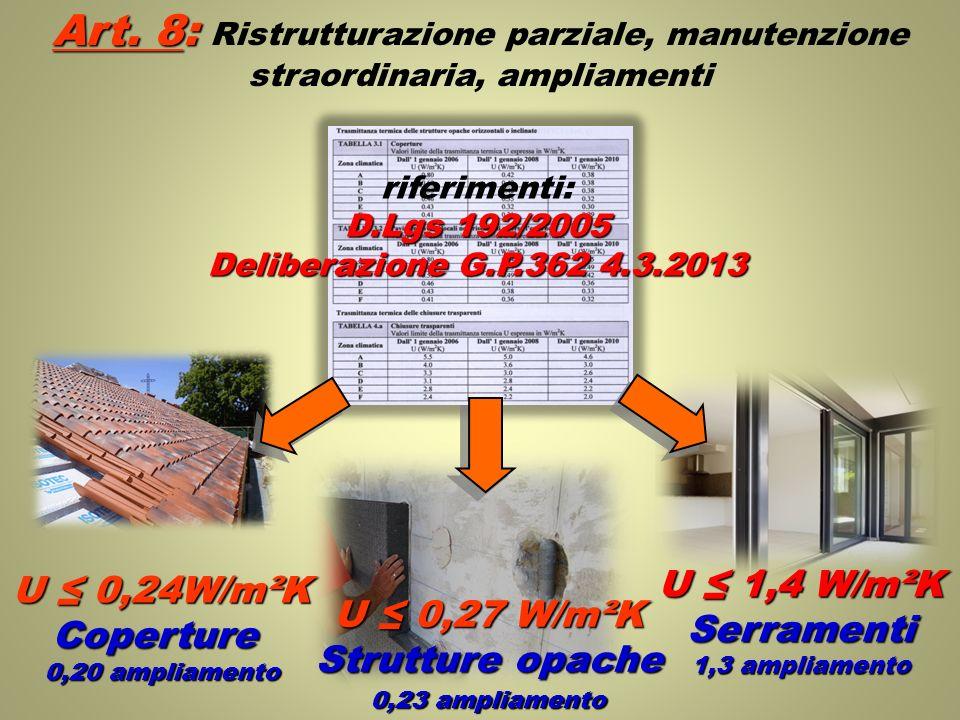 Art. 8: Ristrutturazione parziale, manutenzione straordinaria, ampliamenti
