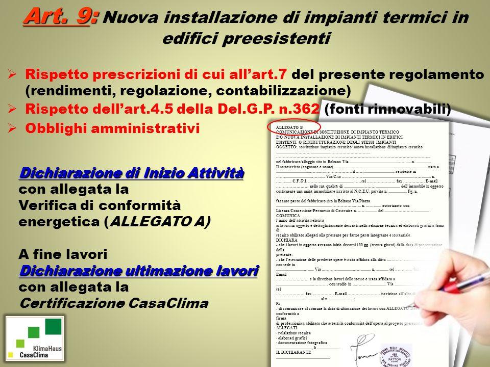 Art. 9: Nuova installazione di impianti termici in edifici preesistenti