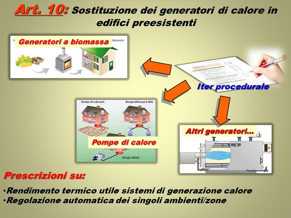 Art. 10: Sostituzione dei generatori di calore in edifici preesistenti