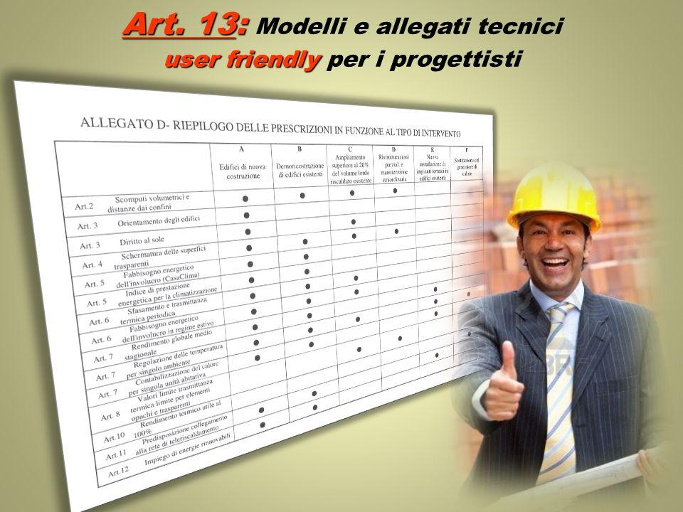 Art. 13: Modelli e allegati tecnici user friendly per i progettisti