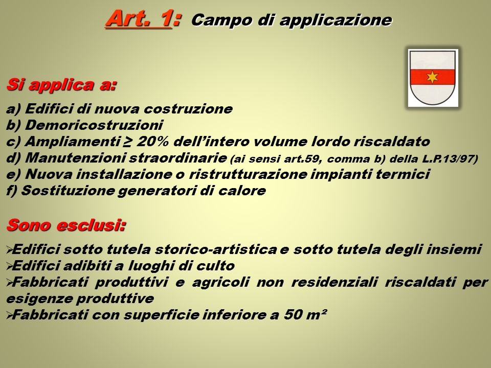Art. 1: Campo di applicazione