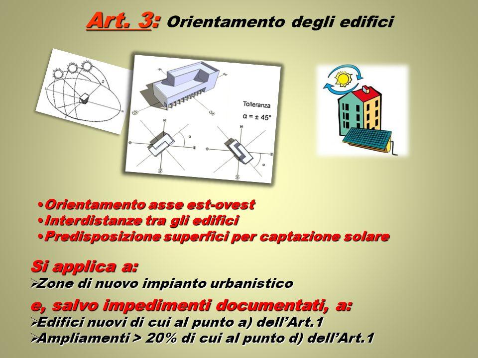 Art. 3: Orientamento degli edifici