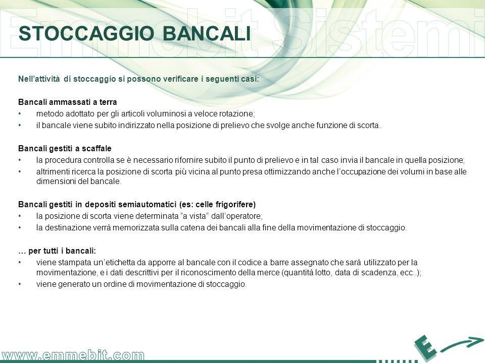 STOCCAGGIO BANCALI Nell'attività di stoccaggio si possono verificare i seguenti casi: Bancali ammassati a terra.