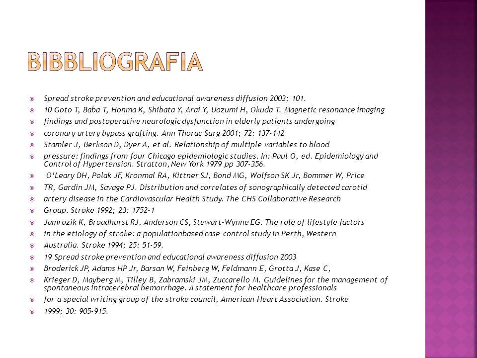 bibbliografia Spread stroke prevention and educational awareness diffusion 2003; 101.