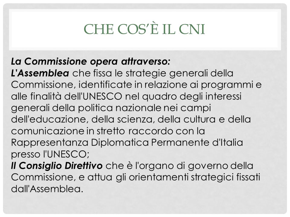 Che cos'è il CNI La Commissione opera attraverso: