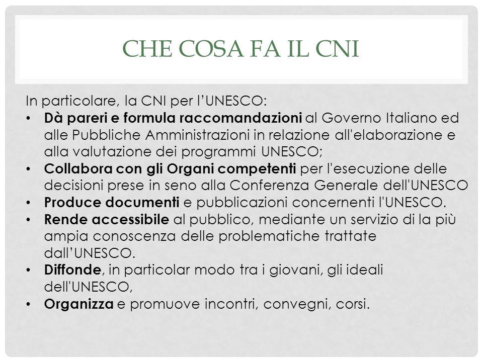 Che cosa fa il CNI In particolare, la CNI per l'UNESCO: