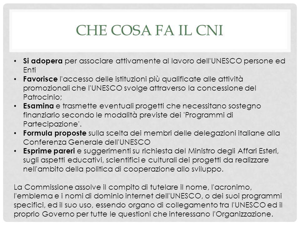 Che cosa fa il CNI Si adopera per associare attivamente al lavoro dell UNESCO persone ed Enti.