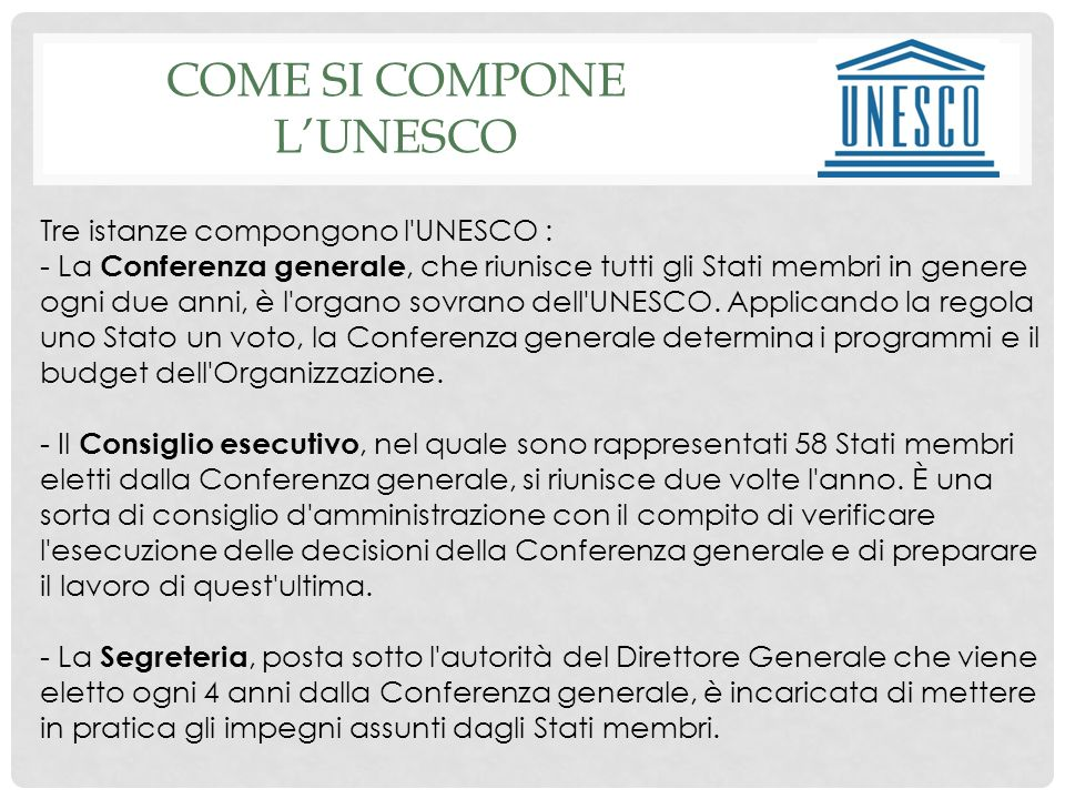 COME SI COMPONE l'unesco