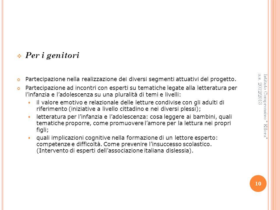 Per i genitori Partecipazione nella realizzazione dei diversi segmenti attuativi del progetto.