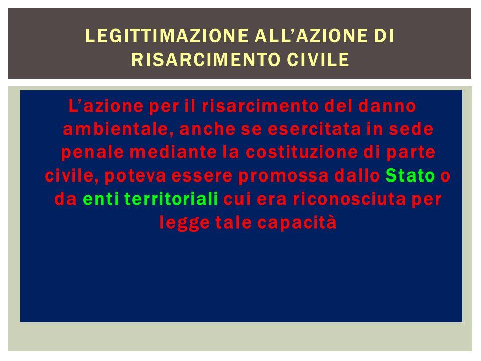 Legittimazione all'azione di risarcimento civile