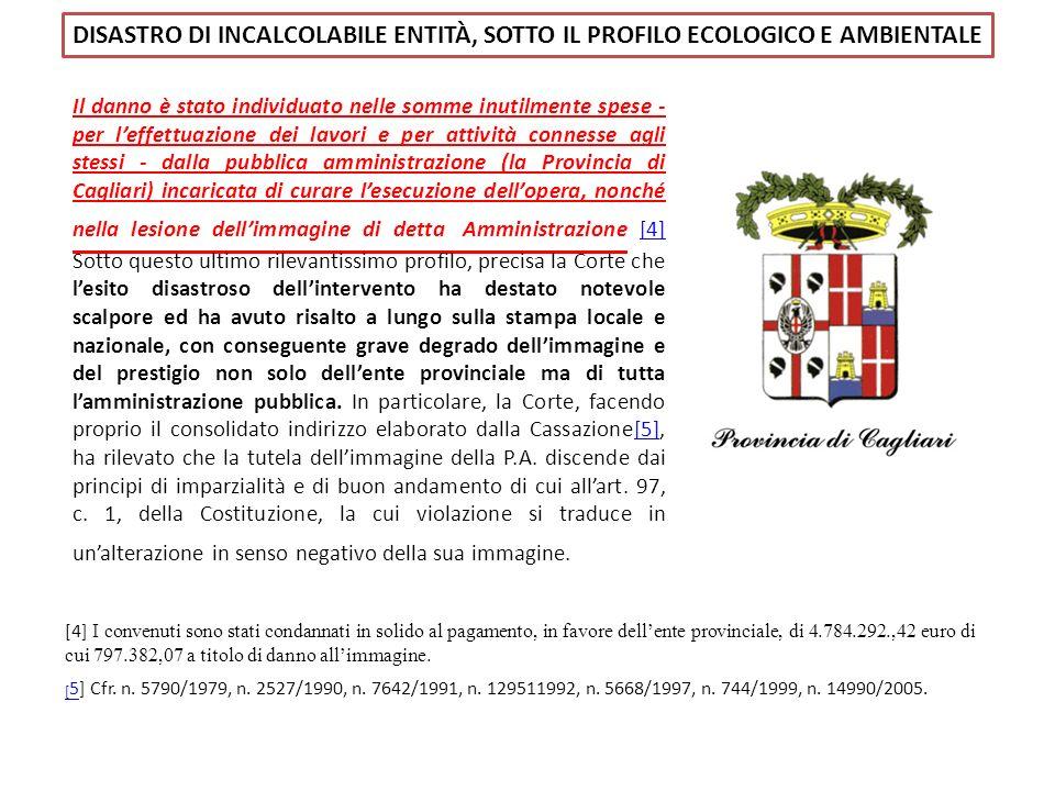 DISASTRO DI INCALCOLABILE ENTITÀ, SOTTO IL PROFILO ECOLOGICO E AMBIENTALE