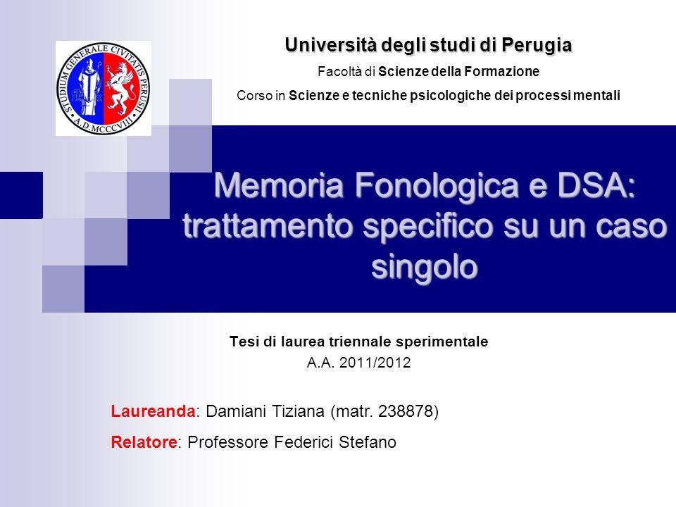 Memoria Fonologica e DSA: trattamento specifico su un caso singolo