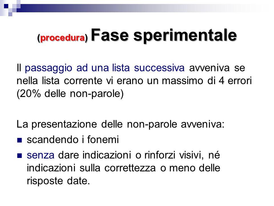 (procedura) Fase sperimentale