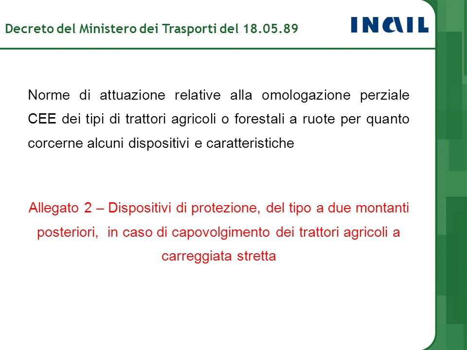 Decreto del Ministero dei Trasporti del 18.05.89