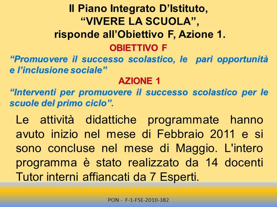 Il Piano Integrato D'Istituto, risponde all'Obiettivo F, Azione 1.