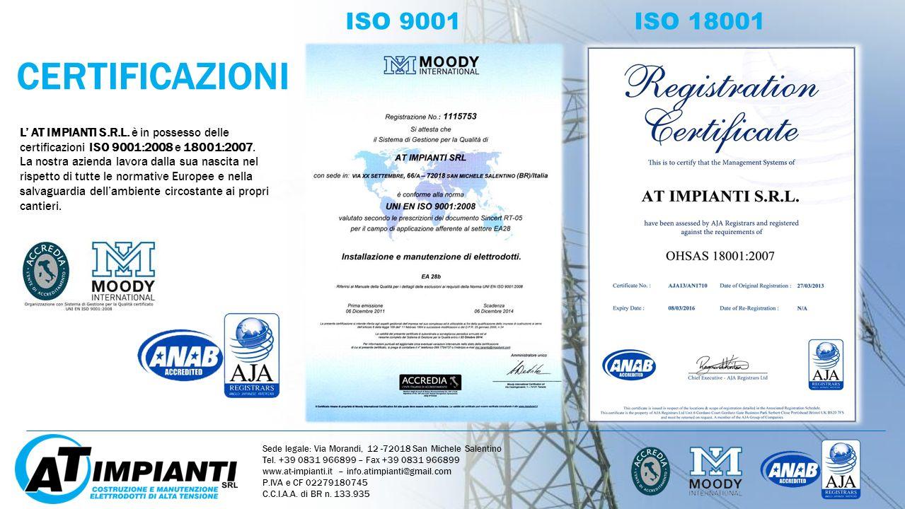 CERTIFICAZIONI ISO 9001 ISO 18001