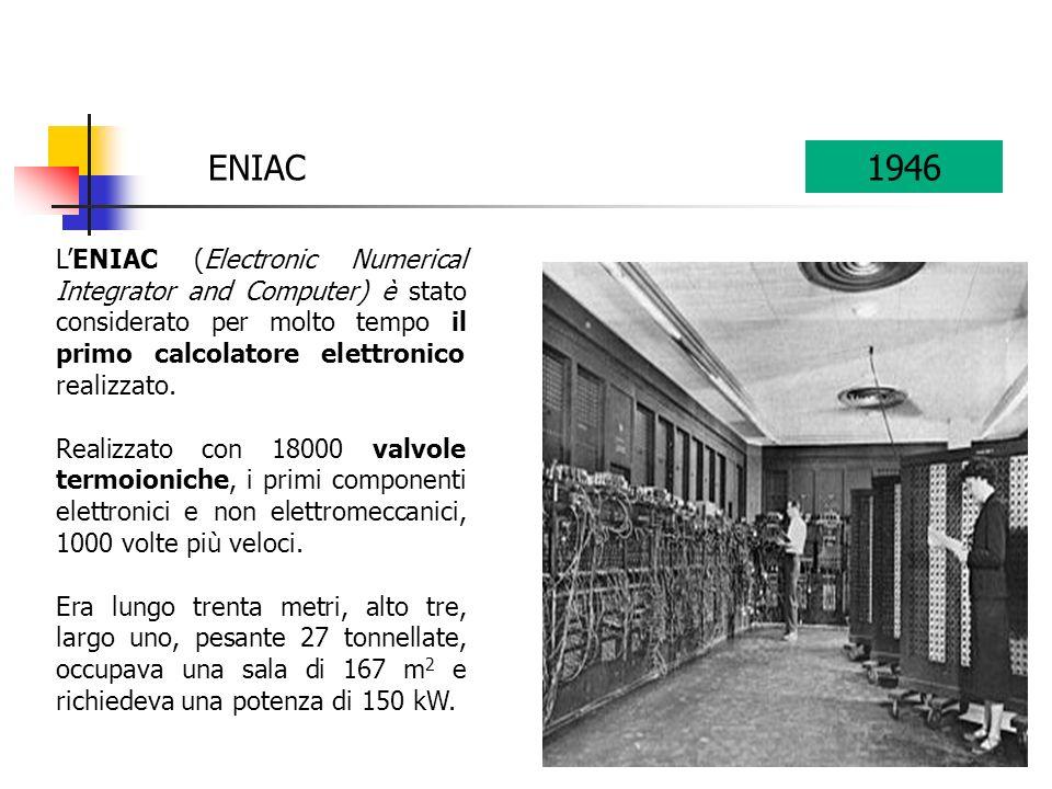 ENIAC 1946. L'ENIAC (Electronic Numerical Integrator and Computer) è stato considerato per molto tempo il primo calcolatore elettronico realizzato.