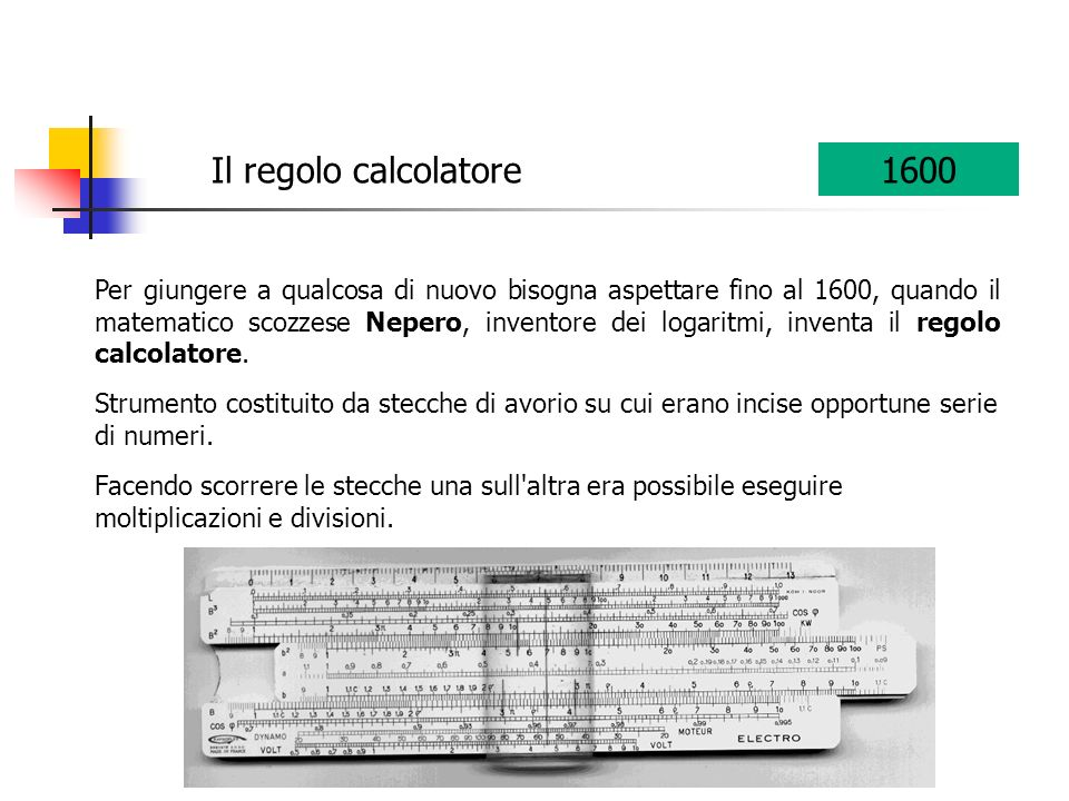 Il regolo calcolatore 1600.