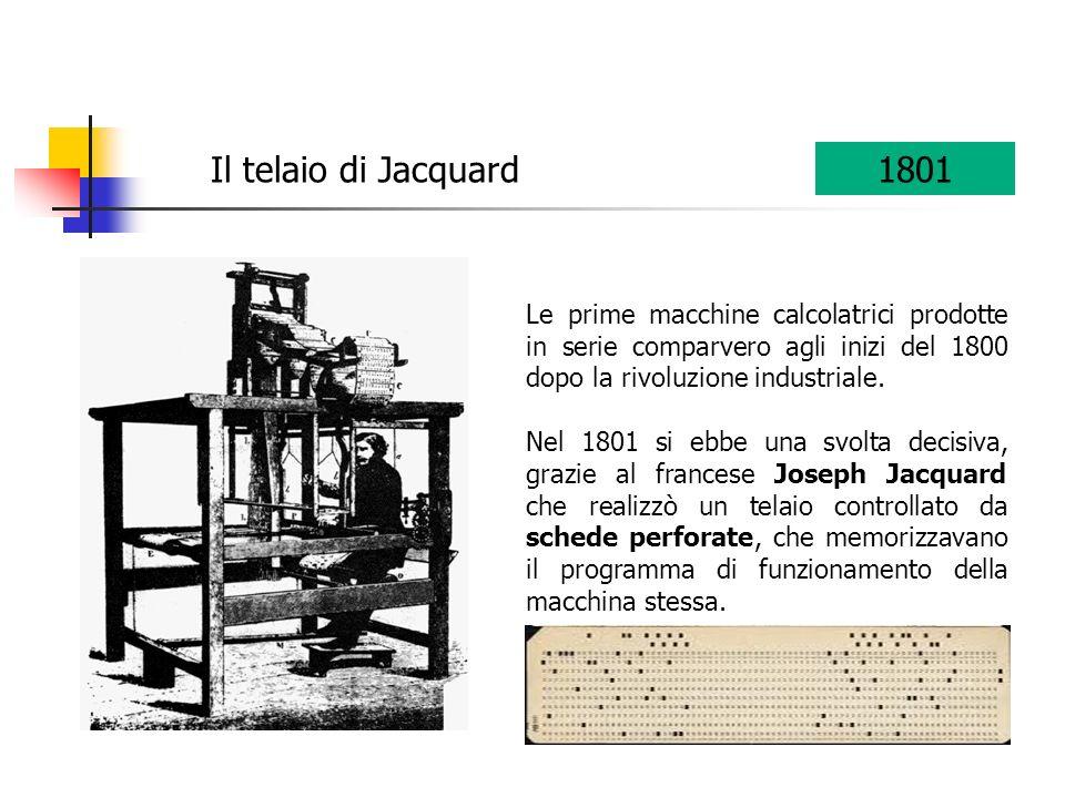 Il telaio di Jacquard 1801. Le prime macchine calcolatrici prodotte in serie comparvero agli inizi del 1800 dopo la rivoluzione industriale.