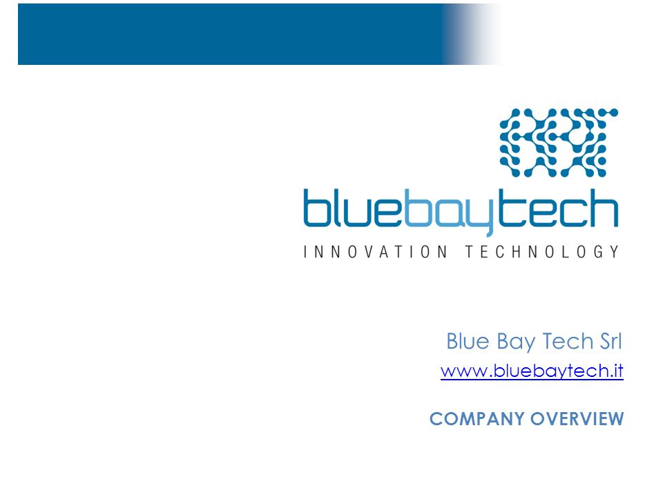 Blue Bay Tech Srl www.bluebaytech.it COMPANY OVERVIEW