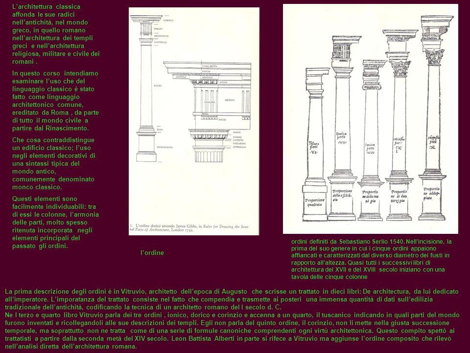 L'architettura classica affonda le sue radici nell'antichità, nel mondo greco, in quello romano nell'architettura dei templi greci e nell'architettura religiosa, militare e civile dei romani .