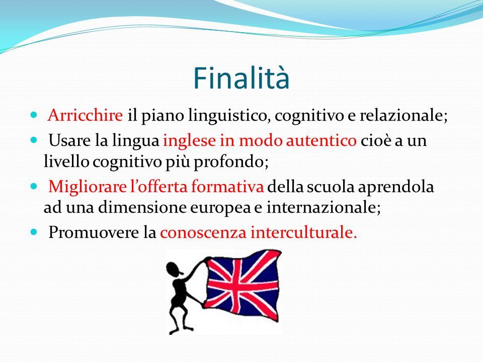 Finalità Arricchire il piano linguistico, cognitivo e relazionale;