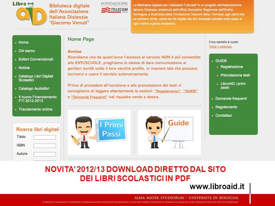 NOVITA' 2012/13 DOWNLOAD DIRETTO DAL SITO DEI LIBRI SCOLASTICI IN PDF