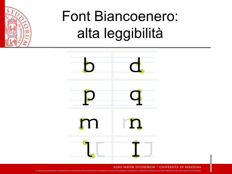 Font Biancoenero: alta leggibilità