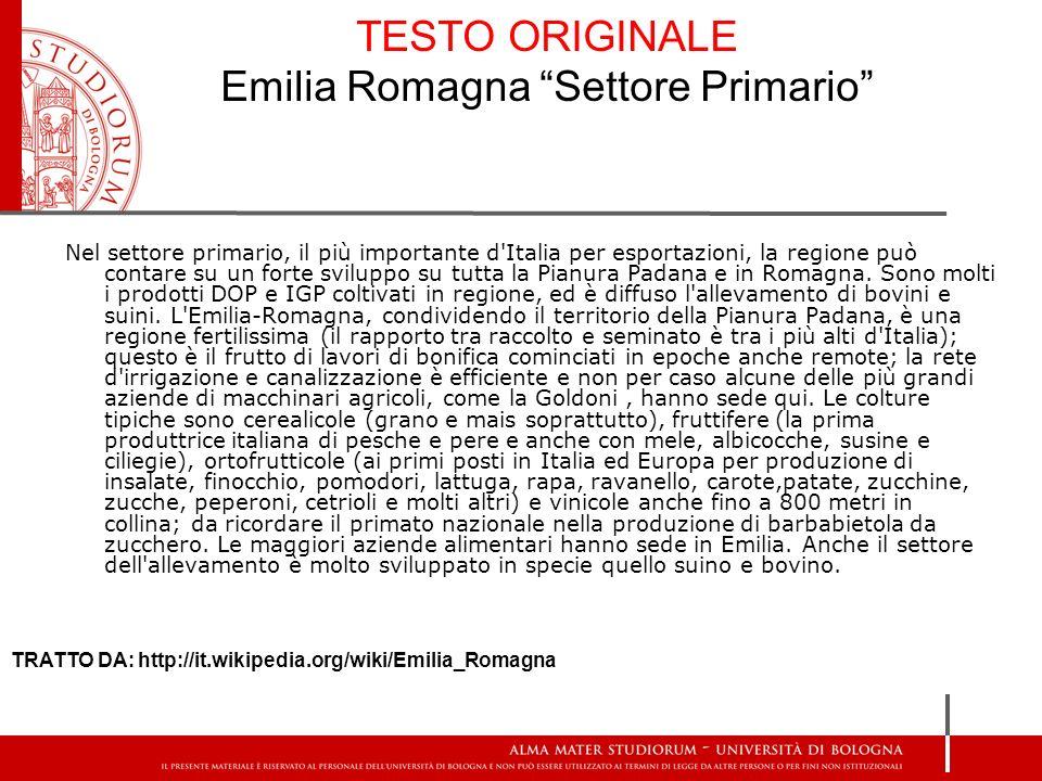 TESTO ORIGINALE Emilia Romagna Settore Primario
