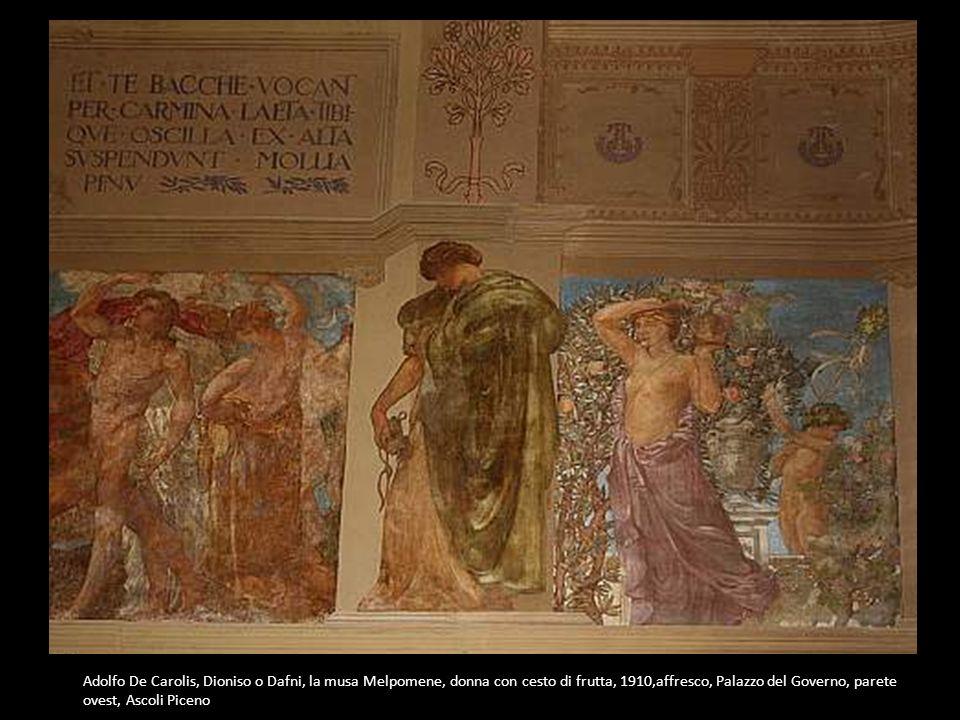 Adolfo De Carolis, Dioniso o Dafni, la musa Melpomene, donna con cesto di frutta, 1910,affresco, Palazzo del Governo, parete ovest, Ascoli Piceno