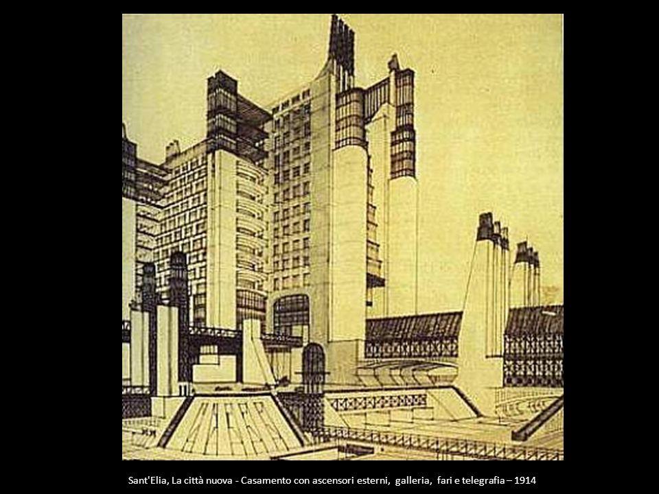 Sant Elia, La città nuova - Casamento con ascensori esterni, galleria, fari e telegrafia – 1914
