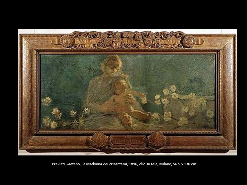 Previati Gaetano, La Madonna dei crisantemi, 1890, olio su tela, Milano, 56.5 x 130 cm