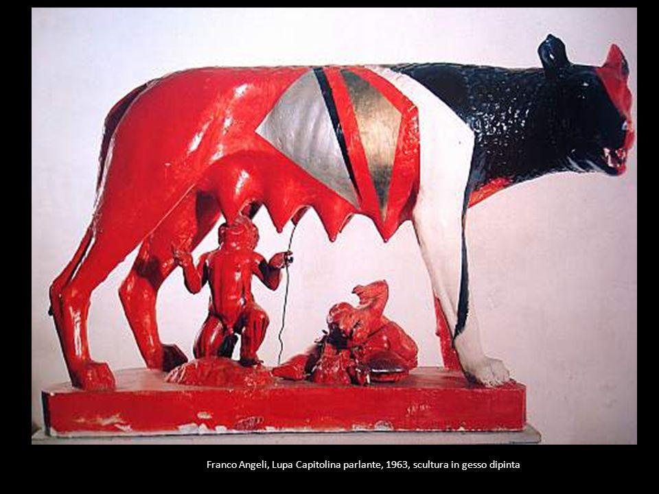 Franco Angeli, Lupa Capitolina parlante, 1963, scultura in gesso dipinta