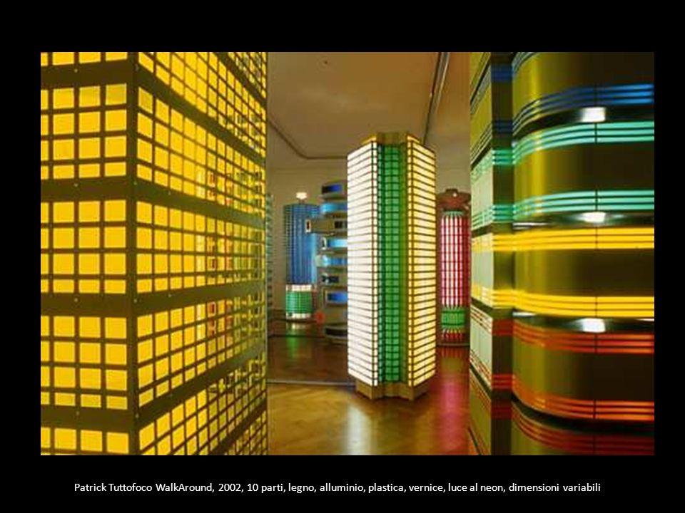 Patrick Tuttofoco WalkAround, 2002, 10 parti, legno, alluminio, plastica, vernice, luce al neon, dimensioni variabili