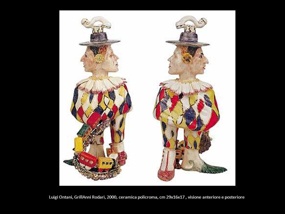 Luigi Ontani, GrillAnni Rodari, 2000, ceramica policroma, cm 29x16x17 , visione anteriore e posteriore
