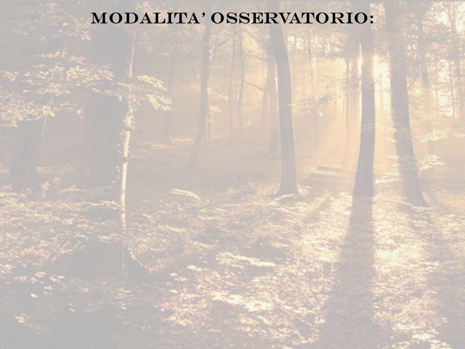 MODALITA OSSERVATORIO: