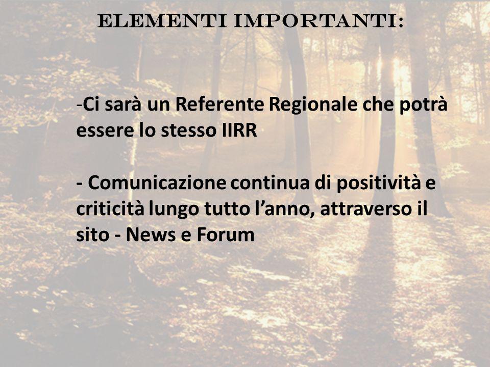 Ci sarà un Referente Regionale che potrà essere lo stesso IIRR