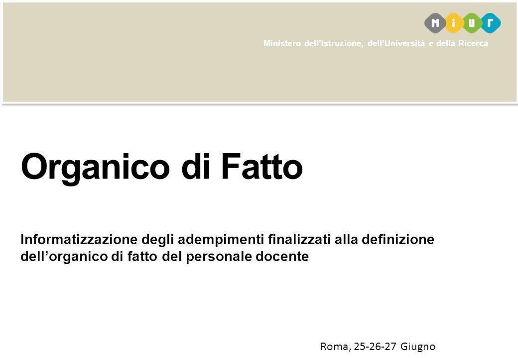 Organico di Fatto Informatizzazione degli adempimenti finalizzati alla definizione dell'organico di fatto del personale docente.