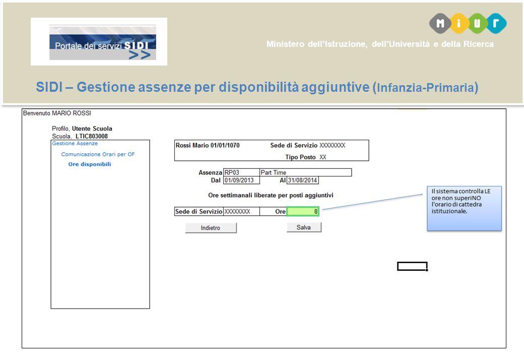 SIDI – Gestione assenze per disponibilità aggiuntive (Infanzia-Primaria)