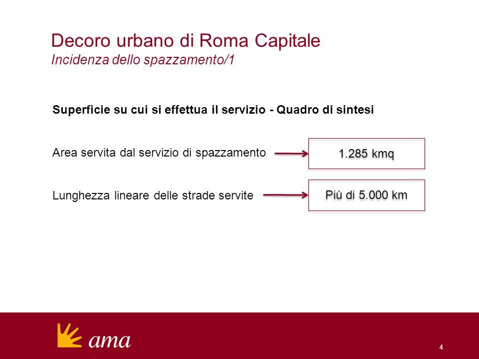 Decoro urbano di Roma Capitale Incidenza dello spazzamento/1